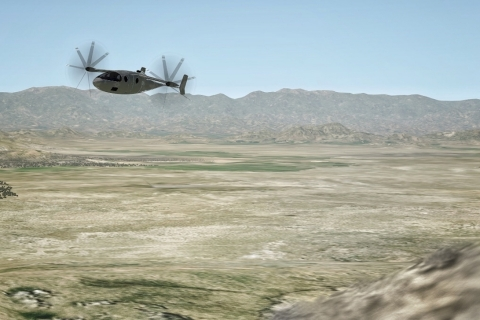 Vy 400AF in simulated nap of the Earth (NOE) flight across a mountain ridge. (Photo: Business Wire)