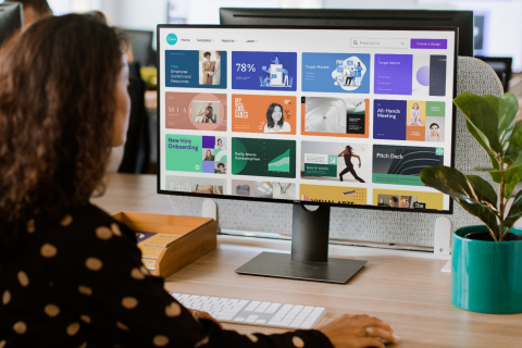 Canva's Workplace Templates allow you to start inspired. From business plans, to pitch decks, training manuals, and status trackers, anyone can create a polished presentation. (Photo: Business Wire)