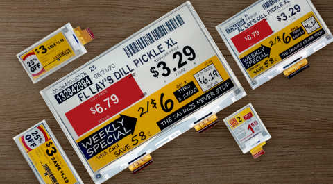 Premium shelf labels and displays offering additional color options and more complex images (Photo: Business Wire)