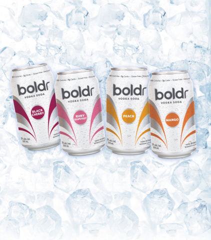 Boldr Vodka Soda comes in four delicious flavours: Peach, Black Cherry, Ruby Grapefruit, and Mango. (Photo: Business Wire)