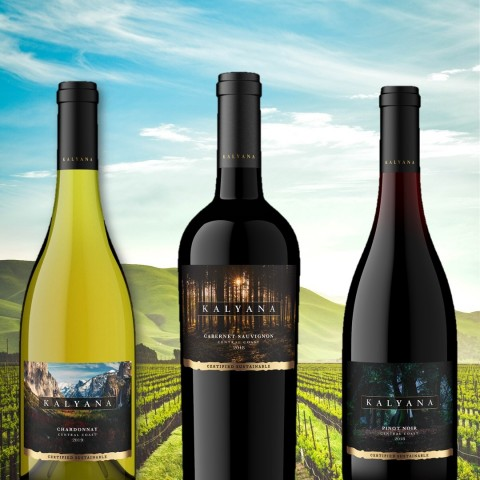 Kalyana sustainable wines are found at Albertsons Companies stores. The lineup includes a 2018 Cabernet Sauvignon, a 2018 Pinot Noir, and a 2019 Chardonnay. (Photo: Business Wire)
