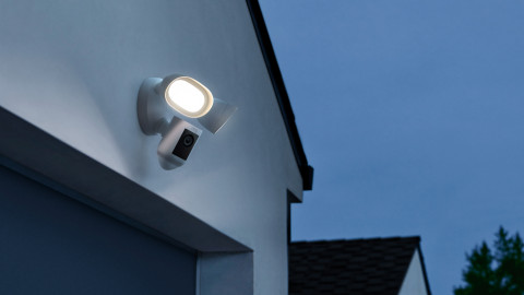 The all-new Ring Floodlight Cam Wired Pro is a re-imagined floodlight equipped with 3D Motion Detection and Bird's Eye View. (Photo: Business Wire)