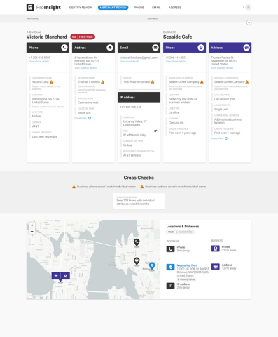 Ekata's Merchant Review solution visually surfaces unique, cross-linked individual and business data to help review agents and underwriting teams make quicker, more confident onboarding decisions. (Graphic: Business Wire)