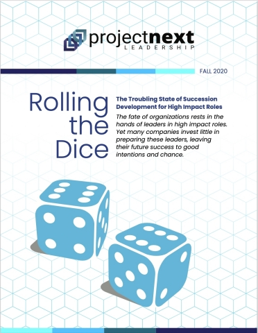 Report details the troubling state of succession development for high impact roles. The fate of organizations rests in the hands of senior leaders. Yet many companies invest little in preparing them, leaving their future success to good intentions and chance. Full report available at ProjectNext Leadership's website.