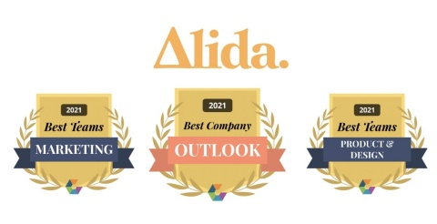 Alida wins 2021 Comparably Awards for Best Company Outlook, Best Marketing Team and Best Product & Design Team (Graphic: Business Wire)
