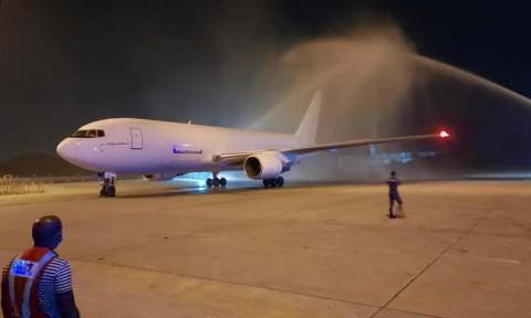 A Boeing 767-200 converted freighter leased from ATSG to Raya Airways receives a water salute upon arrival in Malaysia. (Photo: Business Wire)