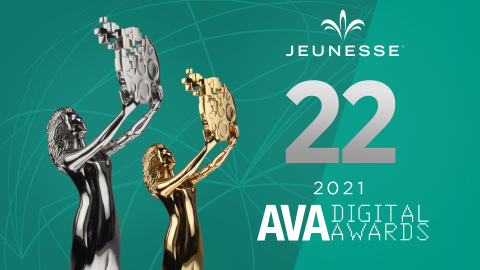 Jeunesse garners 11 Platinum, nine Gold, and two Honorable Mention awards in 2021 AVA Digital Awards competition. (Graphic: Business Wire)