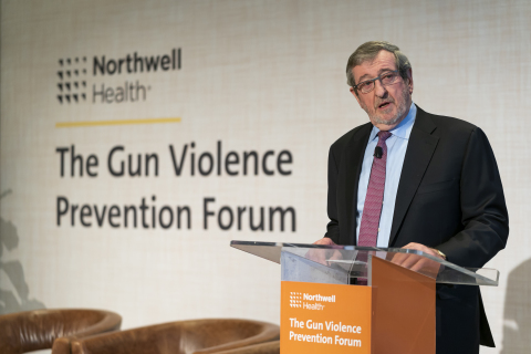 Michael J. Dowling, President and CEO of Northwell Health, speaks at Northwell's Gun Violence Prevention Forum. (Credit: Northwell Health)