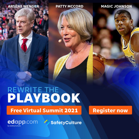 NBA superstar Magic Johnson, Netflix's Patty McCord, and iconic soccer manager Arsène Wenger headline EdApp's free virtual summit April 29. (Photo: Business Wire)