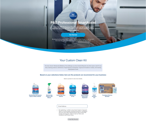 SmartAssist from P&G Professional is a virtual cleaning expert that provides personalized recommendations for business owners looking for cleaning, disinfecting, and sanitizing solutions that meet the heightened expectations of guests impacted by the pandemic. (Photo: Business Wire)