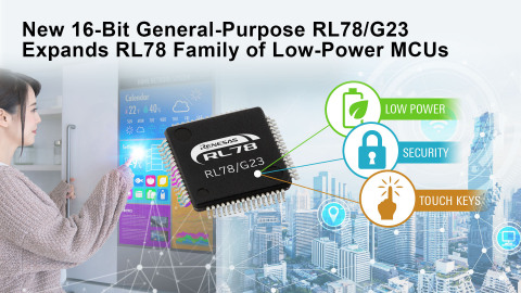 New 16-bit general-purpose RL78/G23 expands RL78 family of low-power MCUs (Graphic: Business Wire)