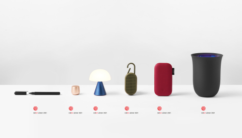 Lexon's award-winning products, from left to right: C-Pen, Mino+, Mina M, Mino T, Powersound and Oblio (Photo: Business Wire)
