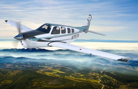 The special edition 75th anniversary option for the Beechcraft Bonanza G36 single-engine piston aircraft is distinguished by its custom interior and paint scheme inspired by Olive Ann Beech's signature blue color. (Photo: Business Wire)
