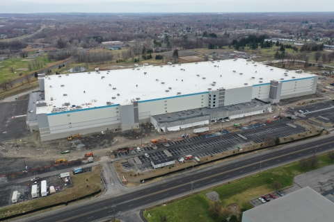 Exterior of Amazon's upcoming fulfillment center in Clay, New York, opening fall 2021 (Photo: Business Wire)