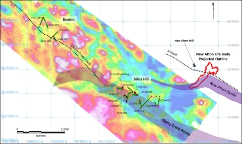 Figure 1: Drill holes location and simplified geological interpretation on DIGEM resistivity anomaly map. (Graphic: Business Wire)