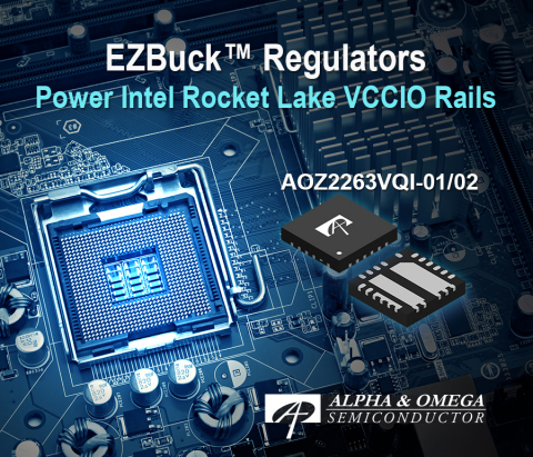 AOZ2263VQI-01 and AOZ2263VQI-02 with Adjustable Output Voltage using 2-bit VID Provides Highest Power Density Solution for Intel Rocket Lake CPU VCCIO Rails (Graphic: Business Wire)