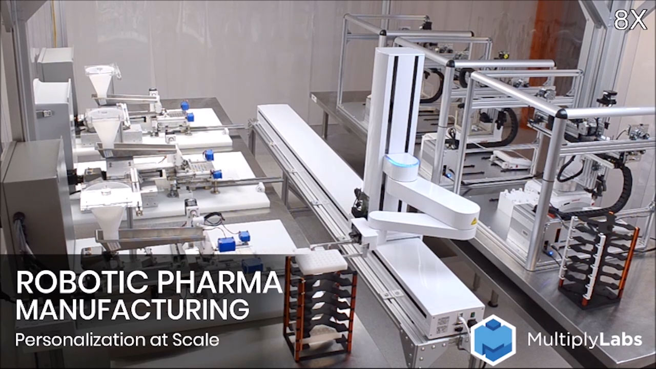 Multiply Labs develops robotic systems that manufacture individualized drugs at industrial scale. Current manufacturing processes for individualized drugs are extremely slow and expensive, because they are based on highly skilled labor. The only way to scale them is with robots.