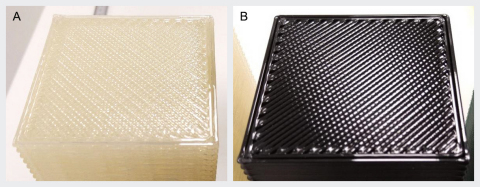 The part (A) printed with clear Ingeo 3D700 shows fewer gaps on the top solidfill layers and between perimeters in comparison to the general-purpose PLA grade part (B) in black. Photos courtesy of MCPP.