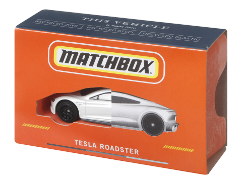 Mattel is unveiling the Matchbox Tesla Roadster, its first die-cast vehicle made from 99% recycled materials and certified CarbonNeutral®*. The Matchbox Tesla Roadster will be available starting in 2022. (Photo: Business Wire)