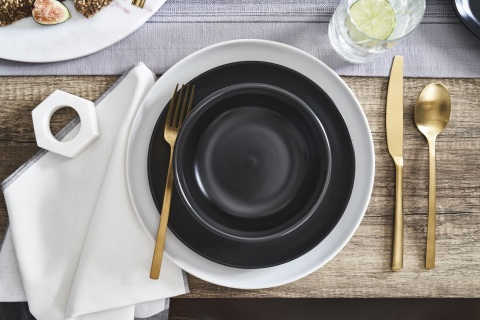 Combining modern design and durability, the Loom + Forge™ assortment of dinnerware, serveware, barware, and table linens make entertaining stylish and fret-free.