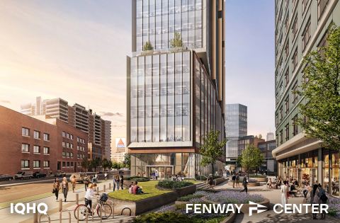 IQHQ's Fenway Center project features more than 960,000 square-feet of state-of-the-art life-science buildings with approximately 10,000 square-feet of ground floor retail along Brookline Avenue and Beacon Street, along with an automated garage that will be accessible from both buildings (Photo: Business Wire)