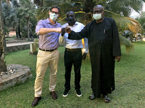 CEO, Nello Cafcules meets with our local Nigerian partners, Taiwo Sanusi and Habib Ali (Photo: Business Wire)