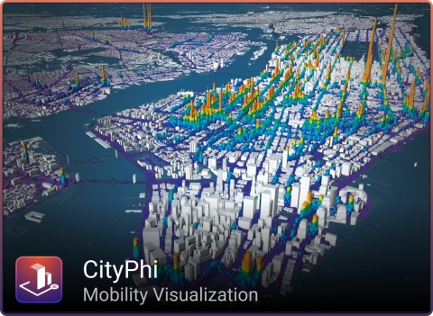 Mit CityPhi erstelltes Bild (www.inrosen_us/cityphi) mit Daten von www.andresmh.com/nyctaxitrips/ (Image courtesy of INRO)