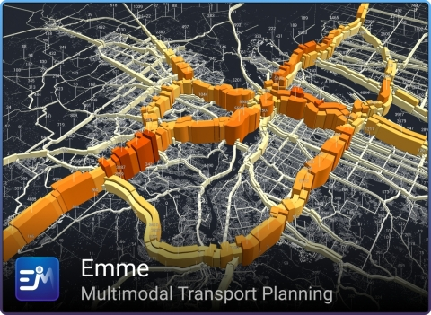 Imagem produzida com o Emme (www.inrosoftware.com/emme) usando dados do metrô (https://www.oregonmetro.gov/) (Image courtesy of INRO)