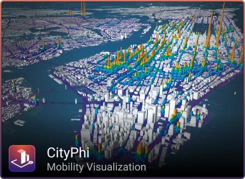 Imagem produzida com o CityPhi (www.inrosoftware.com/cityphi) usando dados de http://www.andresmh.com/nyctaxitrips/ (Image courtesy of INRO)