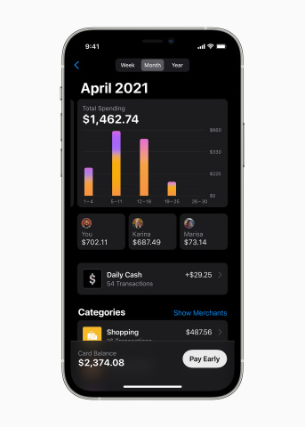 With Apple Card Family, people can share their Apple Card, track purchases, manage spending, and build credit together with their Family Sharing group. (Photo: Business Wire)
