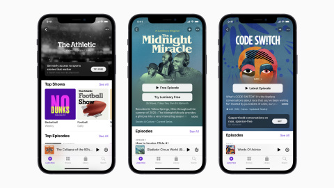 Apple Podcasts Subscriptions is a global marketplace for listeners to discover premium subscriptions offered by their favorite creators, including The Athletic and NPR. The Midnight Miracle, the groundbreaking new original series hosted by Talib Kweli, Yasiin Bey, and Dave Chappelle, will be available next month with a subscription to the Luminary channel on Apple Podcasts. (Photo: Business Wire)