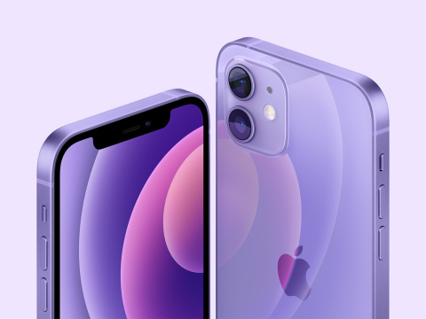 The stunning purple finish for iPhone 12 and iPhone 12 mini beautifully complements the sophisticated flat-edge design and precision-milled back glass. (Photo: Business Wire)