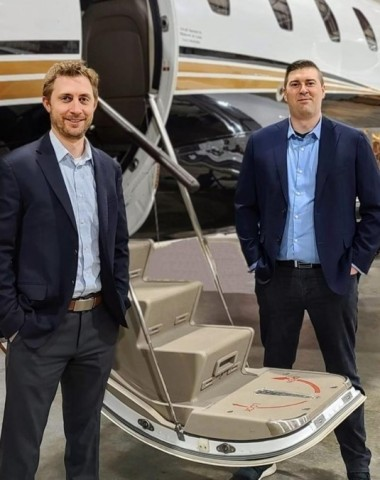 PJC co-founder Clayton Pegher, left, has been named CEO for Private Jet Center, formerly named Pittsburgh Jet Center. The company formed a strategic partnership with Jets.com in early 2021. Daniel Satterlund, COO and partner of Jets.com, is pictured on the right. (Photo: Business Wire)