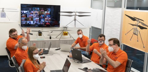 AeroVironment Mars Ingenuity Helicopter Program team members Sara Langberg, Peter Zwaan, Joey Beckman, Ben Pipenberg, Jeremy Tyler and Matt Keennon celebrate Ingenuity's successful first flight. (Photo: AeroVironment, Inc.)