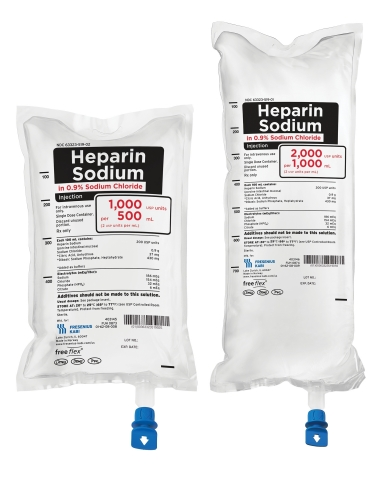 Low concentration Heparin Sodium in Sodium Chloride Injection in ready-to-use Freeflex bags is now available from Fresenius Kabi. (Photo: Business Wire)