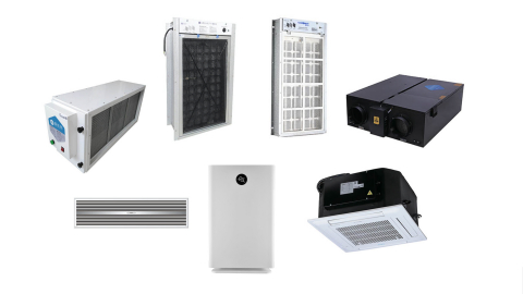 AQT's line of commercial MESP® Air Conditioning Sterilizing Purifiers is now available for distribution in North America. Top row (L-R) - FAD: MESP Air Duct Sterilizing Purifier, FAH: MESP Air Sterilizing Purifier for Air Handling Unit, FFC: MESP Return Air Sterilizing Purifier for Fan Coil Unit, and FFA: MESP Fresh Air Sterilizing Purifier; Bottom row (L-R) - CAP: MESP Ceiling Central Air Sterilizing Purifier, KJ: MESP Portable Air Sterilizing Purifier, and FSA: MESP Ceiling Mounted Air Sterilizing Purifier (Stand Alone) (Graphic: Business Wire)