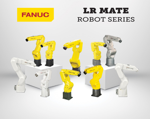FANUC's popular LR Mate industrial robot series offers 10 model variations including food & beverage, clean room and wash proof versions. These small tabletop robots can be equipped with a variety of intelligent features including robot vision and force sensing functionality for even higher levels of accuracy and productivity. (Photo: Business Wire)