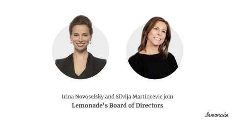 Lemonade Names Irina Novoselsky and Silvija Martincevic to Its Board of Directors (Photo: Business Wire)