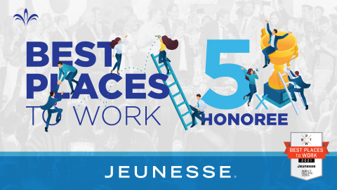 Jeunesse has been selected as a Direct Selling News Best Places to Work in Direct Selling honoree for the fifth time. (Photo: Business Wire)