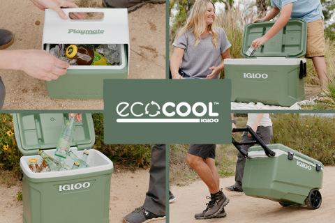 In celebration of Earth Day, Igloo released its ECOCOOL collection — the world's first hardside coolers made with recycled plastic —and the Packable Puffer cooler bags featuring REPREVE® fabric and PrimaLoft® insulation, both made from post-consumer recycled plastic bottles. (Graphic: Business Wire)