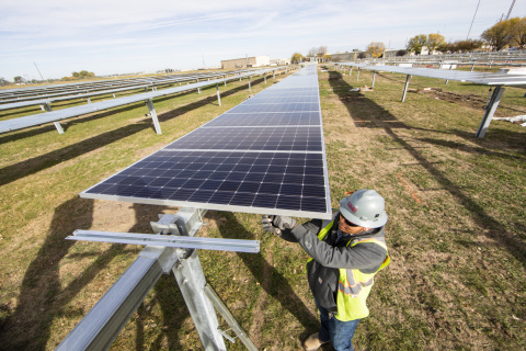 Valmont's 1MW solar array installation located in Valley, NE (Photo: Business Wire)