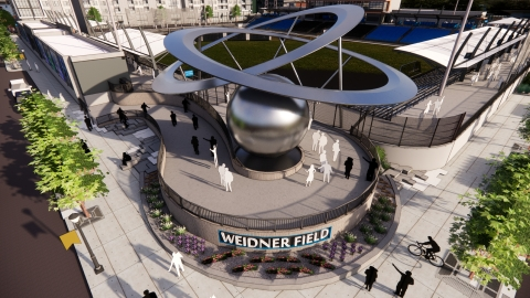 """""""The Epicenter"""" sculpture at the entrance of the new Weidner Field in southwest Downtown Colorado Springs (artistic rendering) (Credit: Perkins&Will, as hired by The Partnership)"""