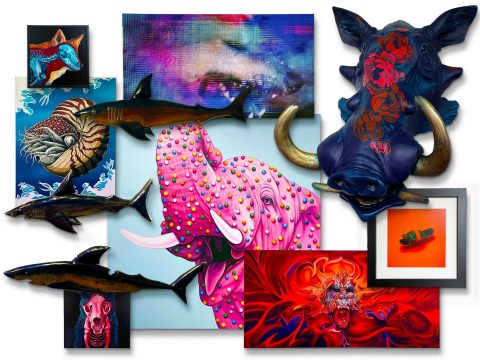 """A photo collage of fine art works appearing in """"Wild,"""" curated by TAG Gallery vice president and Los Angeles area artist Sküt (Scott Lewallen). [Photo credit: Scott Lewallen]"""
