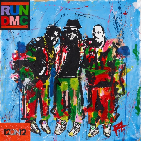 """12ON12 RUN DMC LIMITED EDITION VINYL COVER FEATURING EXCLUSIVE ARTWORK BY REENA TOLENTINO, AKA """"RT"""", INCLUDING A REWORK OF THE CLASSIC RUN DMC LOGO. NOW AVAILABLE AS AN NFT, WITH ONLY A LIMITED NUMBER EVER BEING MINTED. (Photo: Business Wire)"""