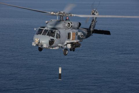 Sonar trempé ALFS embarqué sur hélicoptère MH-60R ©Lockheed Martin
