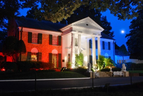 Elvis Presley's Graceland will be lit in red, white and blue for the July 4th weekend celebration. (Photo: Business Wire)