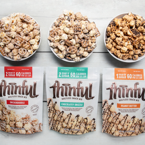 Thinful is the first low-sugar indulgent snack mix with only two grams of sugar and 60 calories per half-cup serving. (Photo: Business Wire)