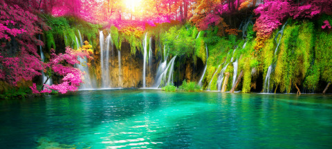 Exotic waterfall and lake landscape of Plitvice Lakes National Park, a UNESCO World Heritage site in Croatia, as featured in the Dynamic ESG 60 model portfolio fact sheet. (Adobe Stock)