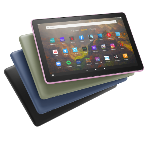 Fire HD 10 is offered in Black, Denim, Lavender, and Olive colors. (Photo: Business Wire)