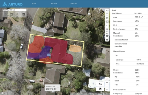 Some of the insights Arturo's AI engine is able to deduce from aerial, satellite and stratospheric photography (Photo: Business Wire)